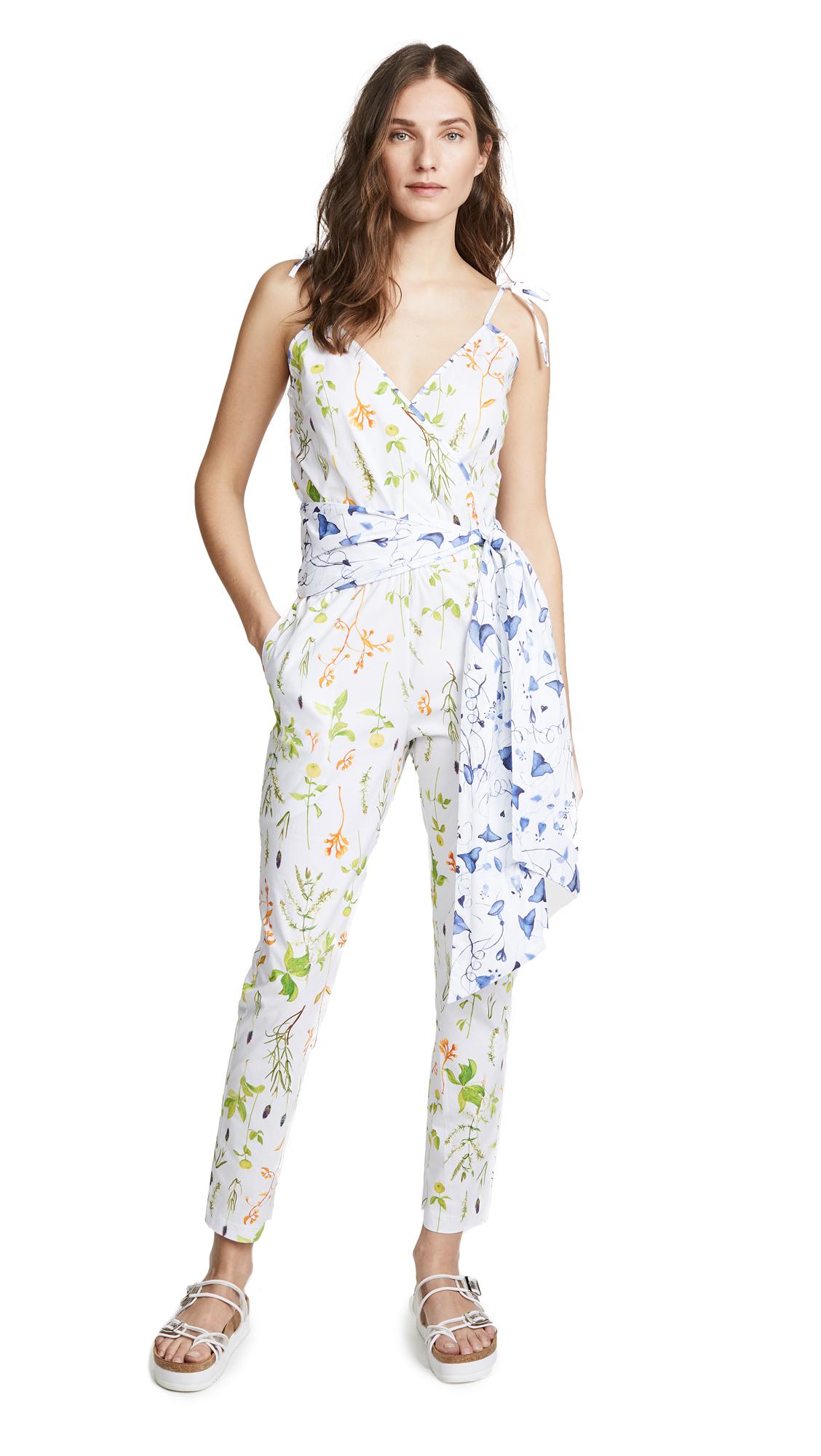 Isolda Camelia Jumpsuit In White Multi