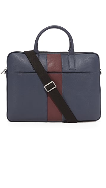 Jack Spade Striped Barrow Leather Portfolio Briefcase