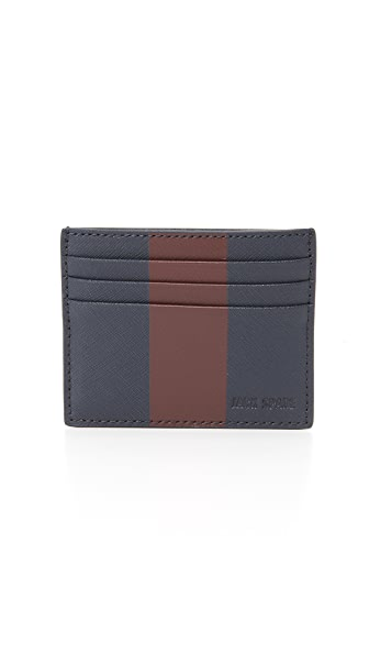 Jack Spade Striped Barrow Leather 6 Card Holder