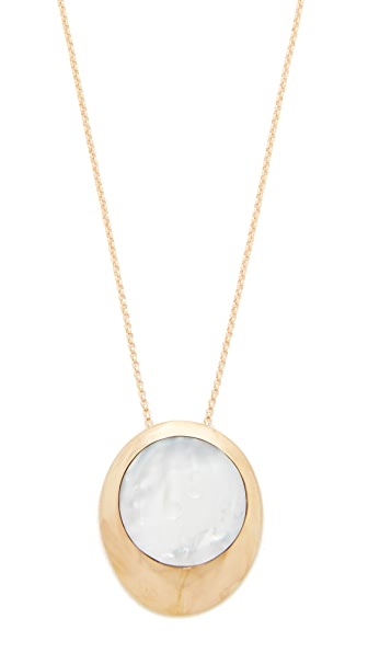 Jacqueline Rose Core Inlay Pendant Necklace - Mother of Pearl/Bronze