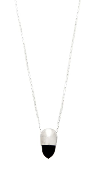 Jacqueline Rose Signet Pendant Necklace - Black/Silver