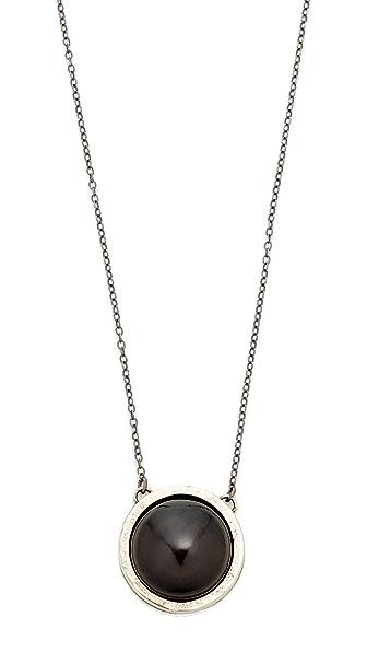 Jacqueline Rose Obsidian Dual Pendant Necklace - Black/White Bronze