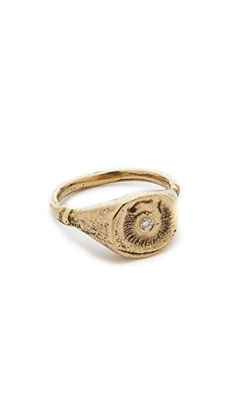 Jacqueline Rose Fossil Ring In Bronze/White Diamond
