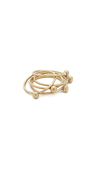 Jacqueline Rose Orb Stack Rings In Bronze