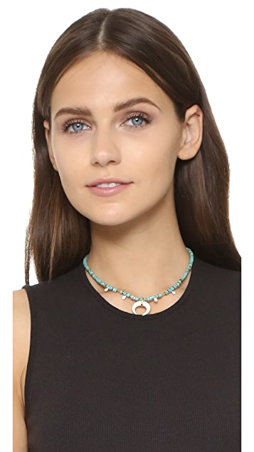 Jacquie Aiche JA Double Horn & Turquoise Beaded Necklace