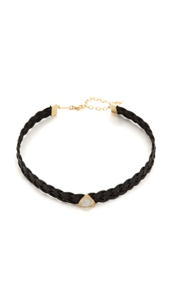 Jacquie Aiche Moonstone Braided Leather Choker Necklace