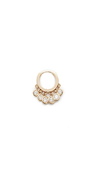 Jacquie Aiche Mini Diamond Shaker Hoop Earring - Gold/Clear