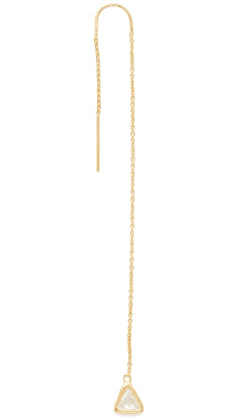 Jacquie Aiche JA Trillion Threader Earring - Gold/Clear