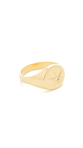 Jacquie Aiche JA Burst Flat Top Signet Pinky Ring - Gold/Clear