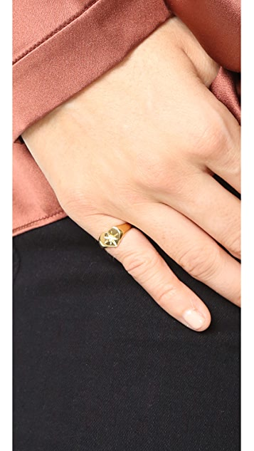 Jacquie Aiche JA Burst Heart Signet Pinky Ring