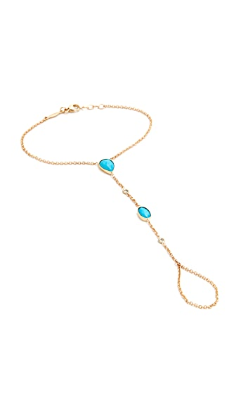 Jacquie Aiche Turquoise & Diamond Hand Chain - Turquoise/Gold