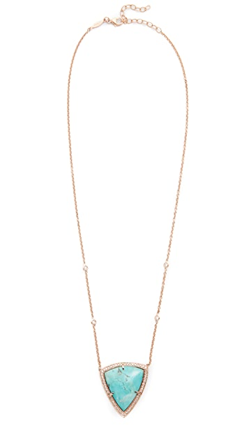 Jacquie Aiche 14k Gold Pave Turquoise Bezel Diamond Necklace