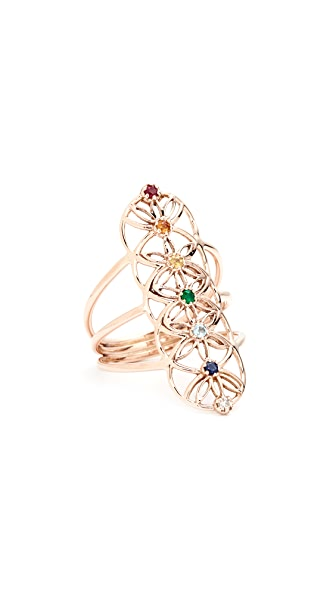 Jacquie Aiche 14k Gold S&H Gemstone Chakra Ring - Multi/Rose Gold