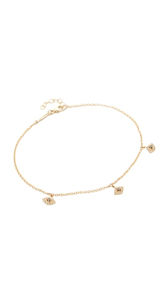 Jacquie Aiche 14k Gold Pave Eye Shaker Anklet In Gold