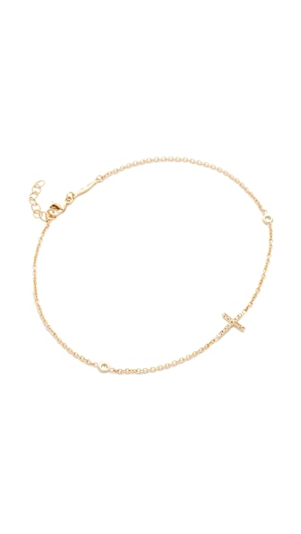 Jacquie Aiche 14k Gold Pave Cross Diamond Anklet - Gold