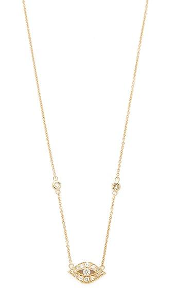 Jacquie Aiche Diamond Eye Pendant Necklace - Gold