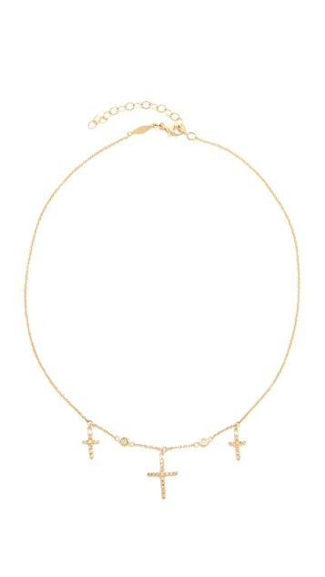 Jacquie Aiche 14k Gold Triple Cross Choker Necklace
