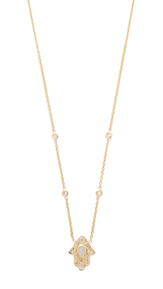 Jacquie Aiche 14k Gold Hamsa Hand Diamond Necklace - Gold/Moonstone