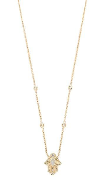 Jacquie Aiche 14k Gold Hamsa Hand Diamond Necklace