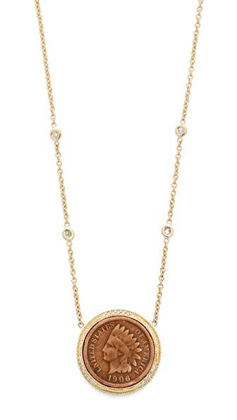 Jacquie Aiche 14k Gold Antique Coin Necklace - Gold
