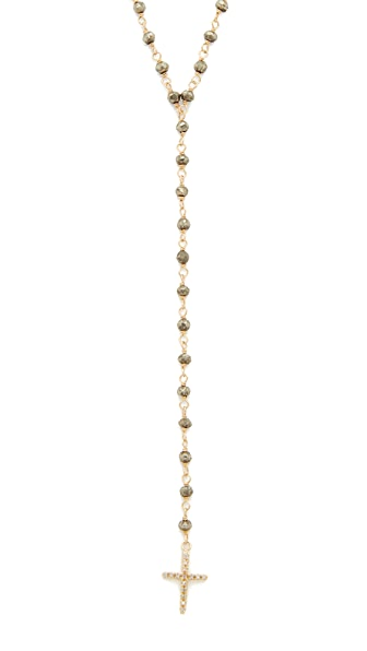 Jacquie Aiche Pave Cross Beaded Rosary - Gold/Pyrite
