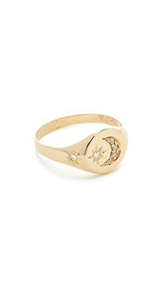 Jacquie Aiche 14k Gold Crescent Star Signet Ring