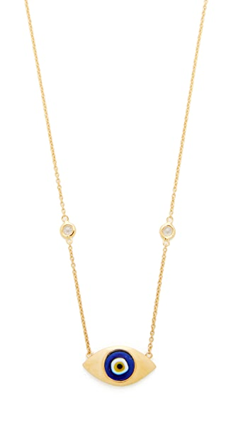Jacquie Aiche Ceramic Eye Necklace - Gold