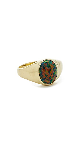 Jacquie Aiche Opal Signet Ring In Gold/Opal