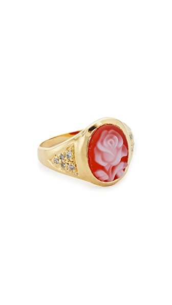 Jacquie Aiche JA Small Rose Ring - Gold/Red