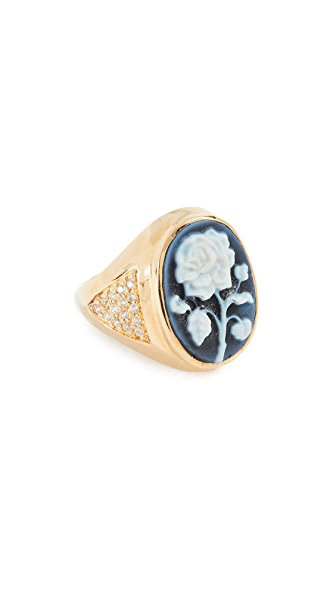 Jacquie Aiche Large Rose Cameo Ring In Black/Gold