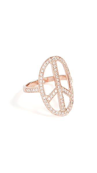 Jacquie Aiche 14K Gold Peace Ring In Rose Gold