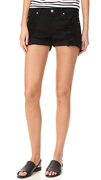 James Jeans Slouchy Fit Boy Shorts - Destroyed Black