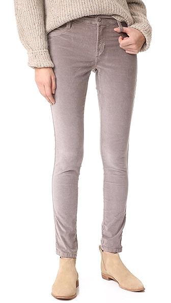 James Jeans Velveteen Mid Rise Legging Jeans In Pearl Grey