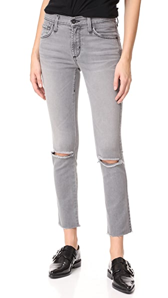 James Jeans Ankle Ciggy Mid Rise Pencil Jeans In Smoke