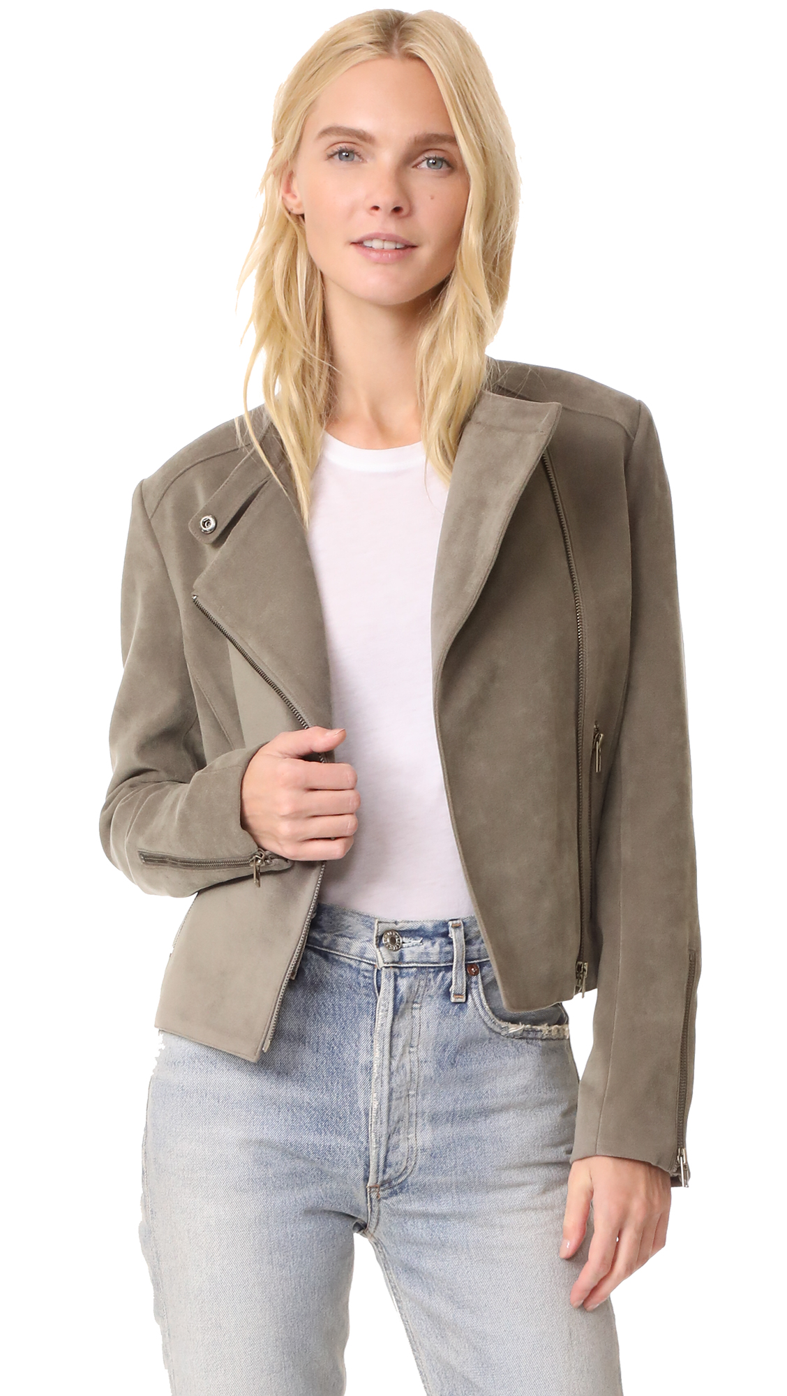 James Jeans Cropped Motorcycle Jacket - Brushed Taupe