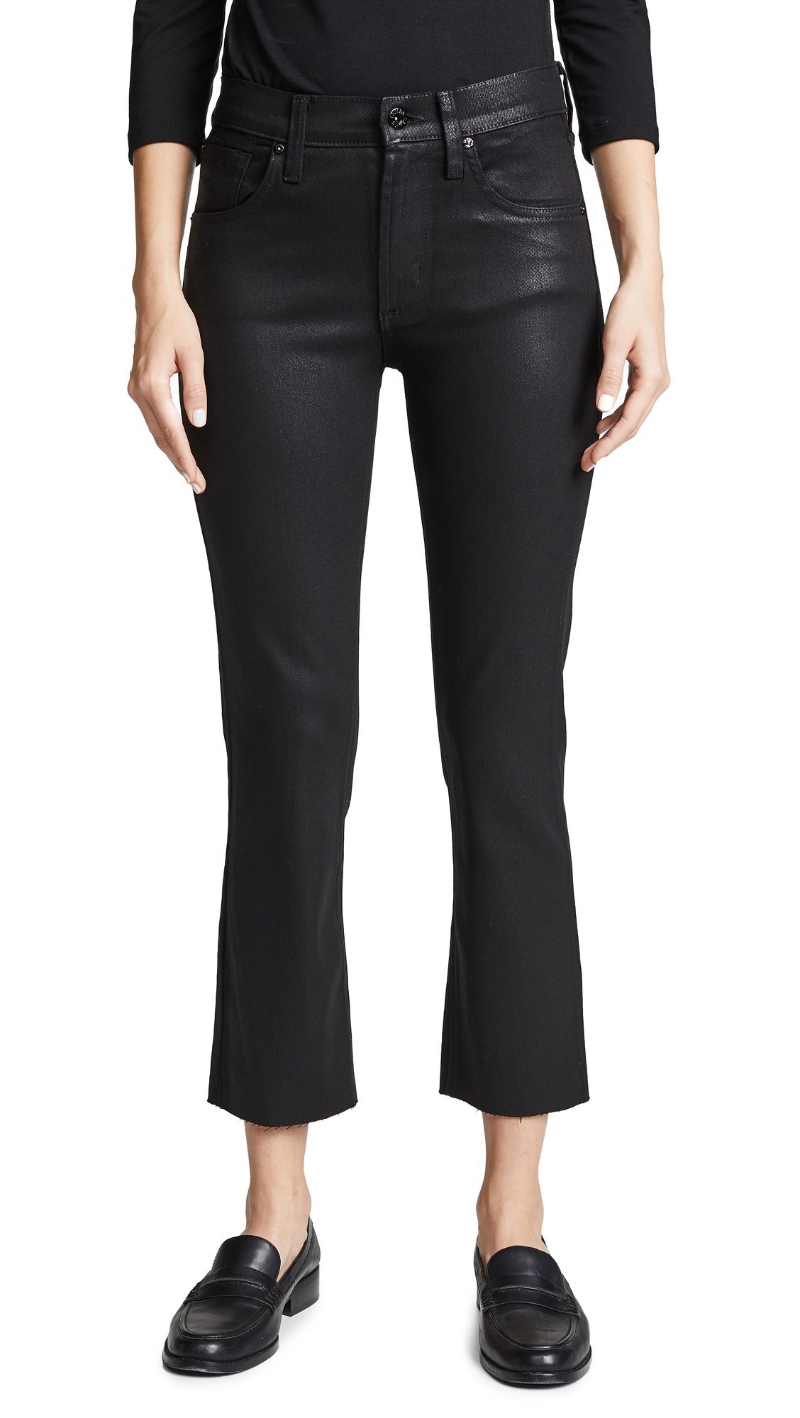 JAMES JEANS Calvin High Rise Coated Jeans in Black Glossed