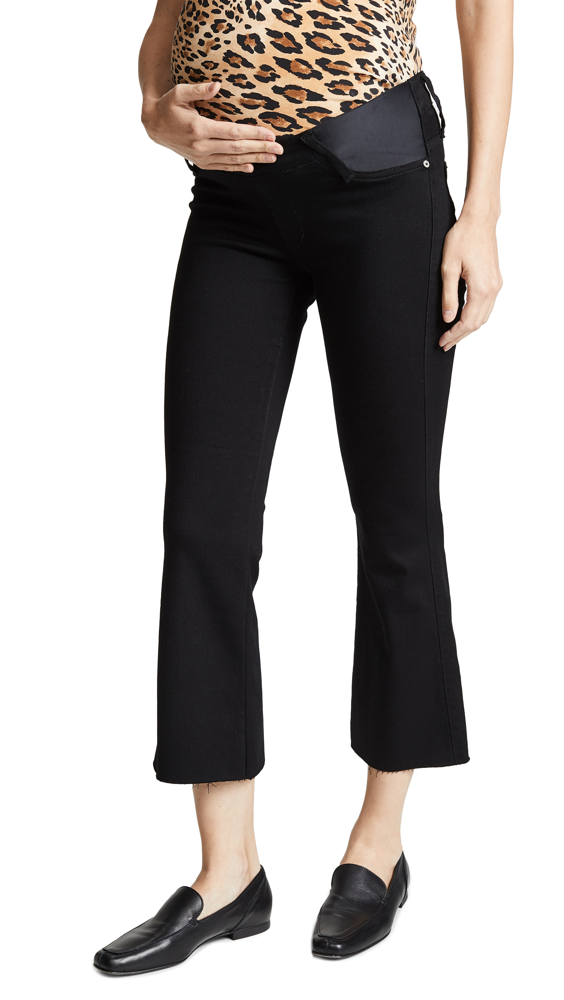 James Jeans Kalista Maternity Cropped Flare Jeans In Black Swan