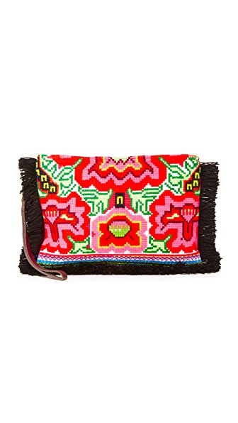 JADEtribe Eliz Fringe Clutch - Black