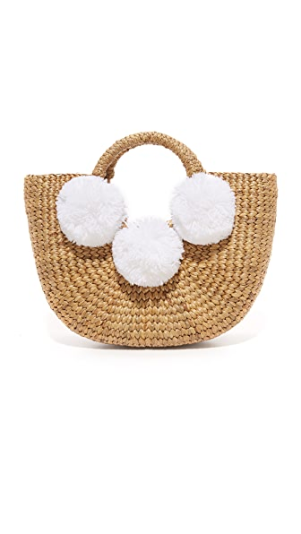 JADEtribe Basket Mini Pom Pom Bag - White