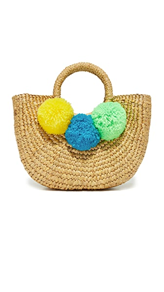 JADEtribe Basket Mini Pom Bag - Yellow/Blue/Lime