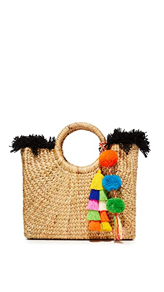 JADEtribe Small Square Basket Tote - Black/Multi