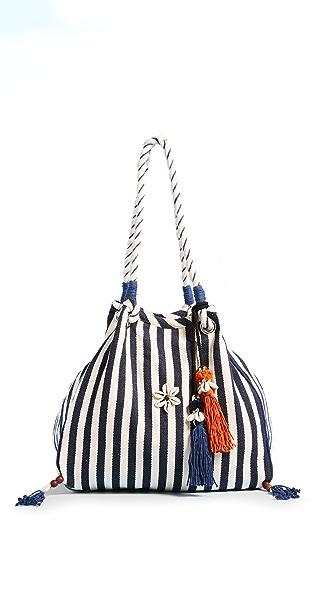 JADEtribe Valerie Rope Beach Hobo Bag In Indigo/Orange/Indigo