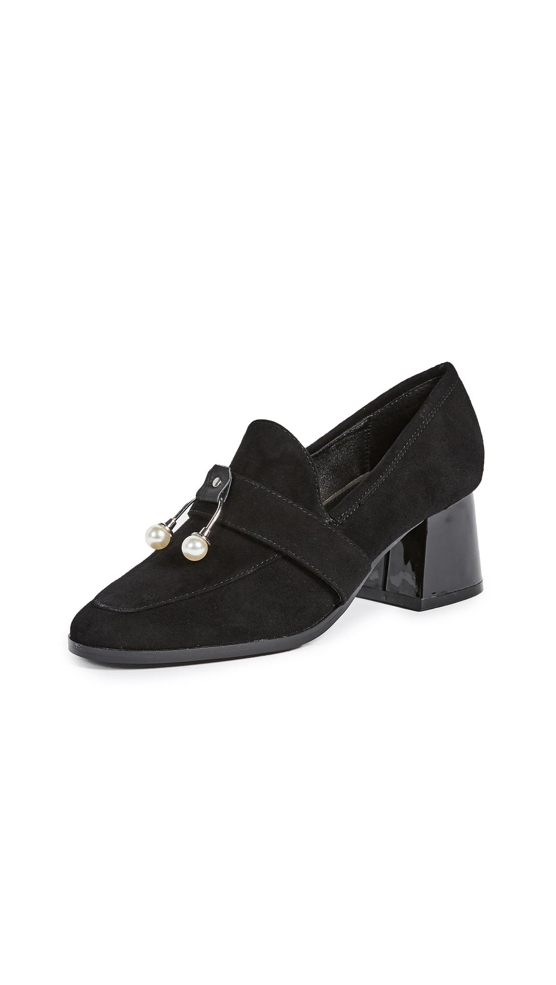 JAGGAR Intermix Block Heel Loafer Pumps - Black