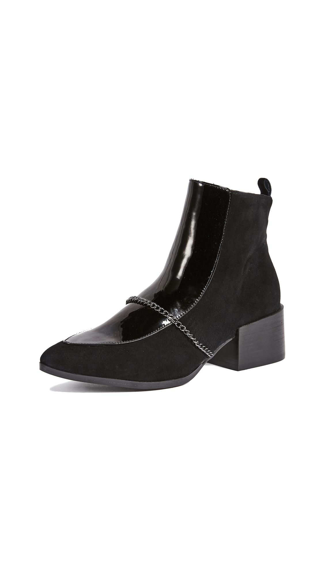 JAGGAR Block Heel Suede Boots - Black
