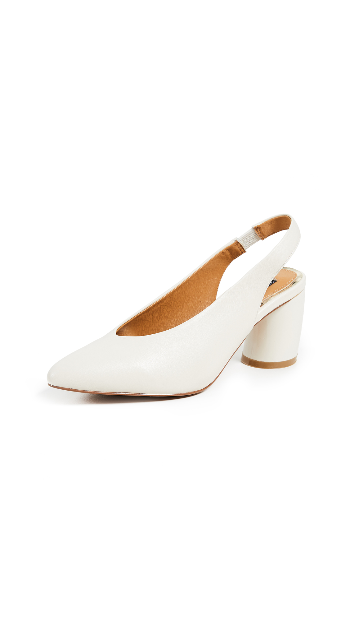 JAGGAR Tempt Curved Heel Pumps - Chalk