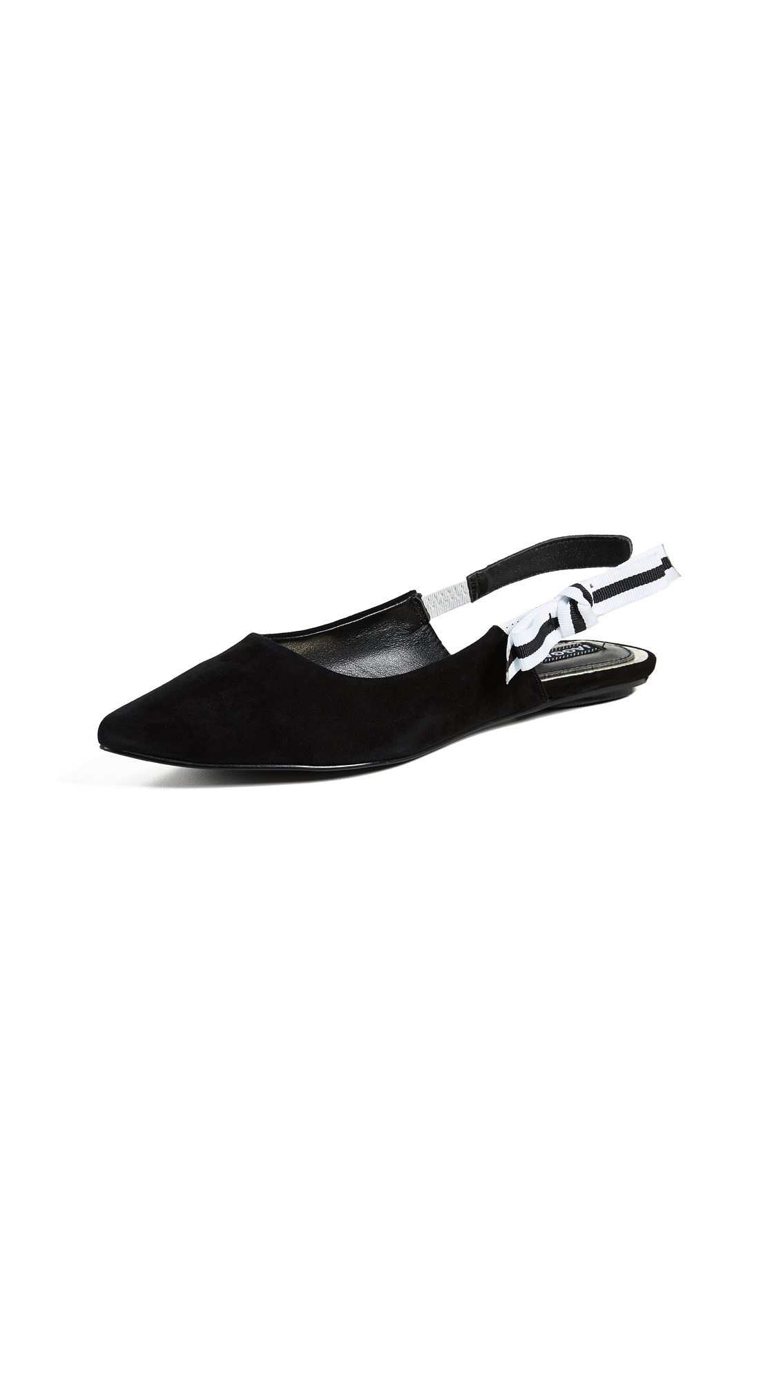 JAGGAR Slight Point Toe Slingback Flats - Black