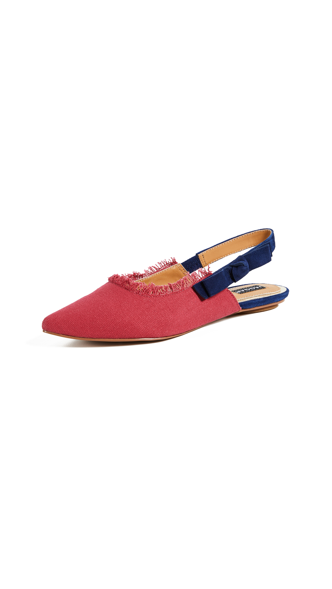 JAGGAR Slight Point Toe Slingback Flats - Cranberry