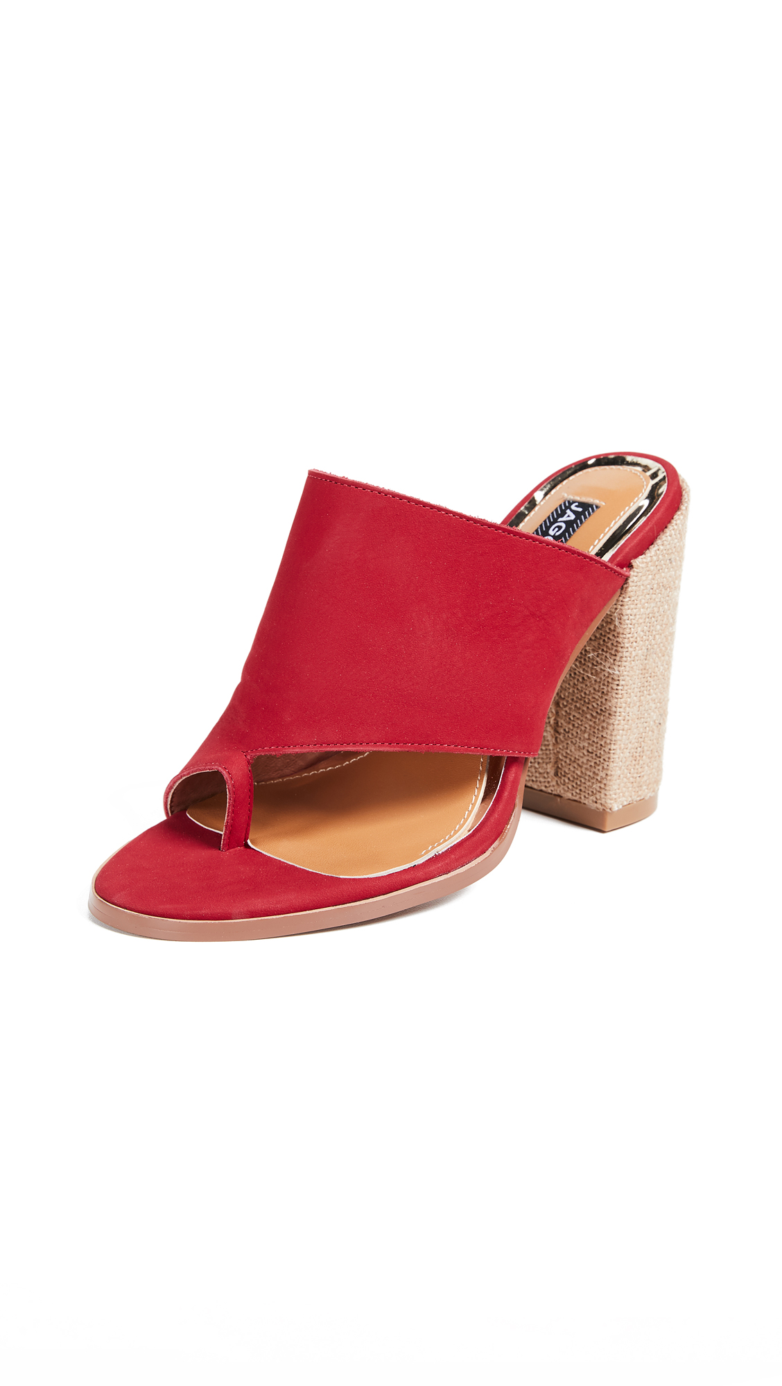 JAGGAR Juxtaposed Toe Ring Sandals - Red