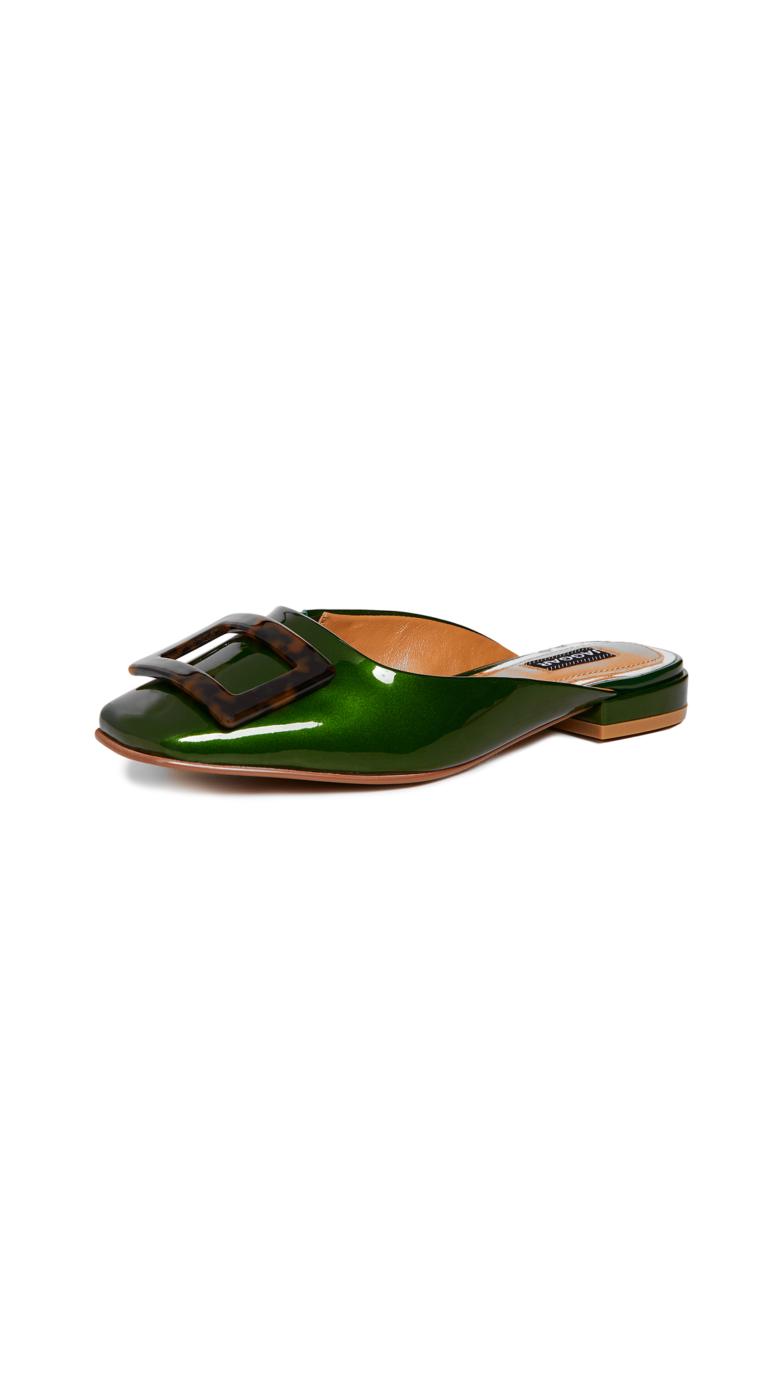 JAGGAR Crown Patent Mules - Emerald
