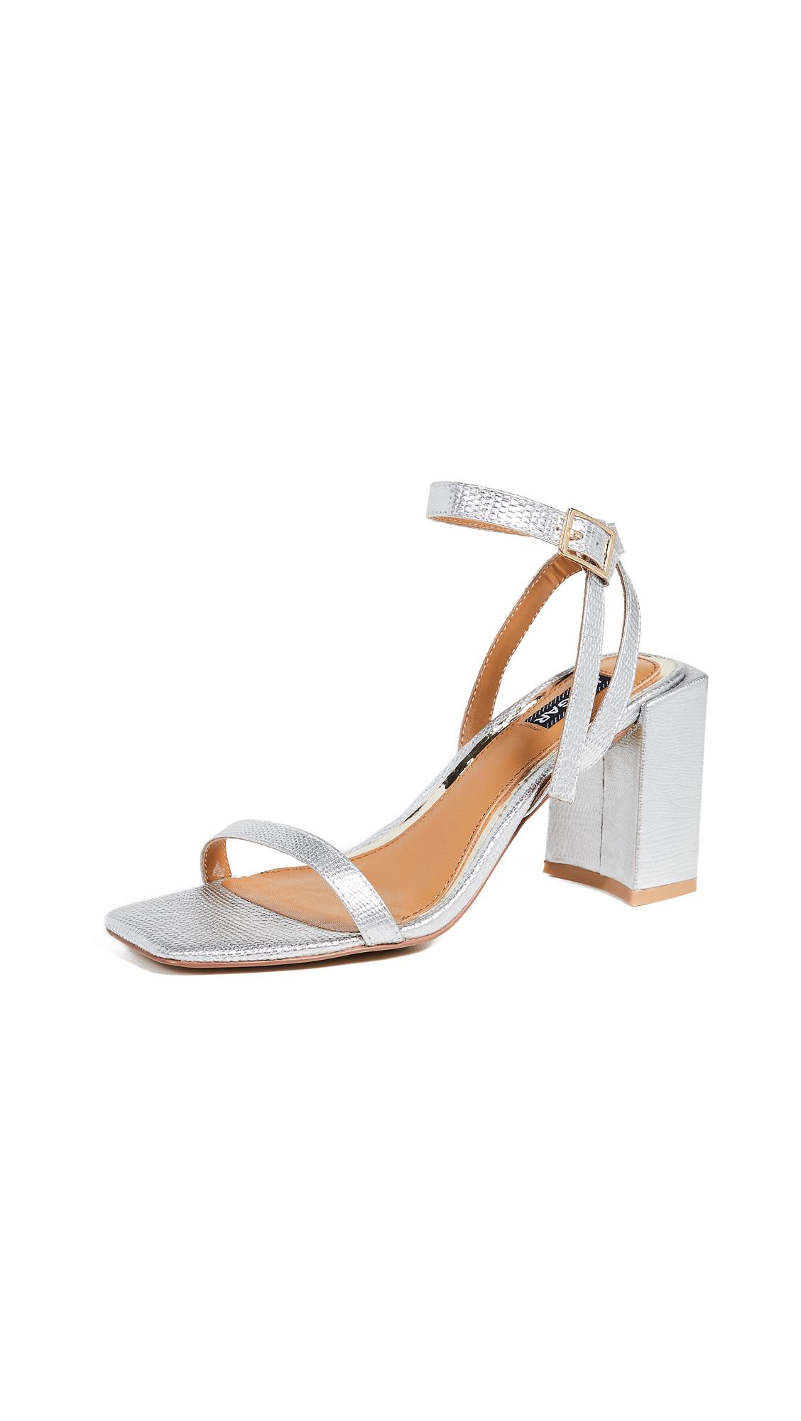 JAGGAR Essential Lizard Heel Sandals - Silver